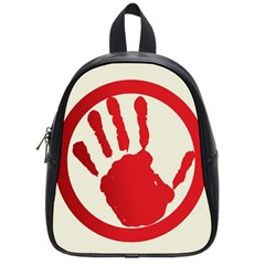 Bloody Handprint Stop Emob Sign Red Circle School Bags (small)  by Mariart