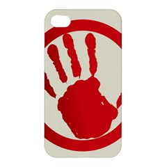 Bloody Handprint Stop Emob Sign Red Circle Apple Iphone 4/4s Hardshell Case by Mariart