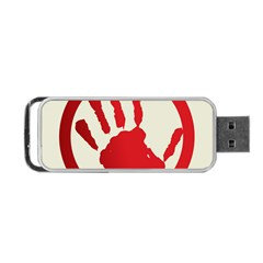 Bloody Handprint Stop Emob Sign Red Circle Portable Usb Flash (one Side) by Mariart