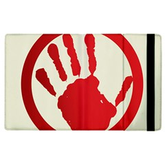 Bloody Handprint Stop Emob Sign Red Circle Apple Ipad 2 Flip Case by Mariart