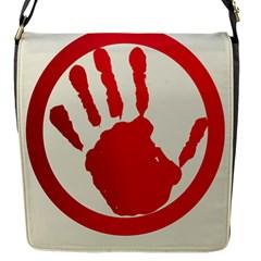 Bloody Handprint Stop Emob Sign Red Circle Flap Messenger Bag (s) by Mariart