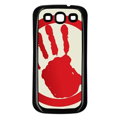 Bloody Handprint Stop Emob Sign Red Circle Samsung Galaxy S3 Back Case (black) by Mariart
