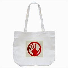 Bloody Handprint Stop Emob Sign Red Circle Tote Bag (white) by Mariart
