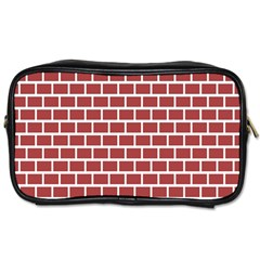 Brick Line Red White Toiletries Bags 2 Side by Mariart