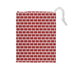 Brick Line Red White Drawstring Pouches (large)  by Mariart