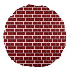 Brick Line Red White Large 18  Premium Flano Round Cushions by Mariart
