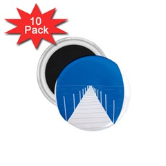 Bridge Sea Beack Blue White 1 75  Magnets (10 Pack)  by Mariart