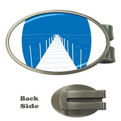 Bridge Sea Beack Blue White Money Clips (oval)  by Mariart
