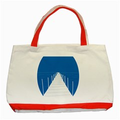 Bridge Sea Beack Blue White Classic Tote Bag (red) by Mariart