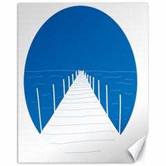 Bridge Sea Beack Blue White Canvas 11  X 14   by Mariart