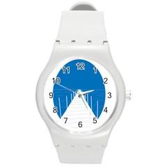 Bridge Sea Beack Blue White Round Plastic Sport Watch (m) by Mariart