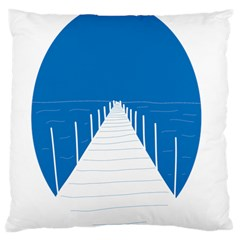 Bridge Sea Beack Blue White Large Cushion Case (one Side)