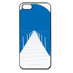 Bridge Sea Beack Blue White Apple Iphone 5 Seamless Case (black)