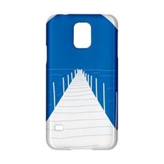 Bridge Sea Beack Blue White Samsung Galaxy S5 Hardshell Case  by Mariart