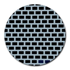 Bricks Black Blue Line Round Mousepads by Mariart
