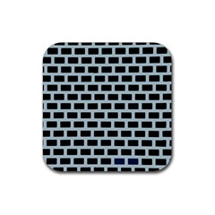 Bricks Black Blue Line Rubber Square Coaster (4 Pack)  by Mariart