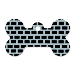 Bricks Black Blue Line Dog Tag Bone (two Sides) by Mariart