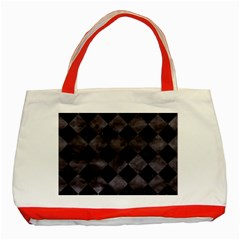 Square2 Black Marble & Black Watercolor Classic Tote Bag (red) by trendistuff