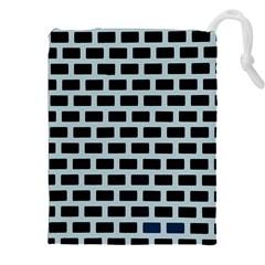 Bricks Black Blue Line Drawstring Pouches (xxl) by Mariart