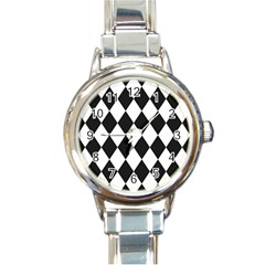 Broken Chevron Wave Black White Round Italian Charm Watch by Mariart