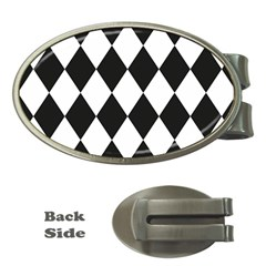 Broken Chevron Wave Black White Money Clips (oval)  by Mariart