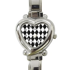 Broken Chevron Wave Black White Heart Italian Charm Watch by Mariart