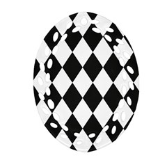 Broken Chevron Wave Black White Oval Filigree Ornament (two Sides) by Mariart