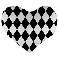 Broken Chevron Wave Black White Large 19  Premium Flano Heart Shape Cushions by Mariart