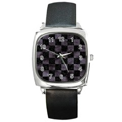 Square1 Black Marble & Black Watercolor Square Metal Watch by trendistuff