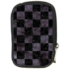 Square1 Black Marble & Black Watercolor Compact Camera Leather Case by trendistuff