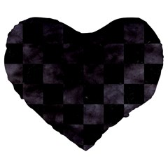 Square1 Black Marble & Black Watercolor Large 19  Premium Flano Heart Shape Cushion by trendistuff