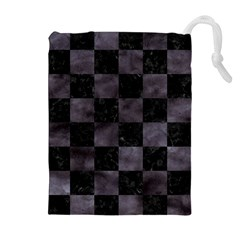 Square1 Black Marble & Black Watercolor Drawstring Pouch (xl) by trendistuff