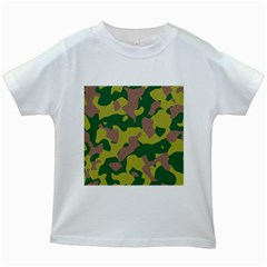 Camouflage Green Yellow Brown Kids White T Shirts by Mariart