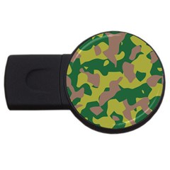 Camouflage Green Yellow Brown Usb Flash Drive Round (4 Gb) by Mariart