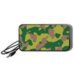 Camouflage Green Yellow Brown Portable Speaker (black) by Mariart