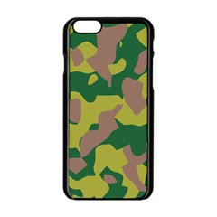 Camouflage Green Yellow Brown Apple Iphone 6/6s Black Enamel Case by Mariart