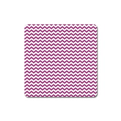 Chevron Wave Purple White Square Magnet by Mariart