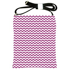 Chevron Wave Purple White Shoulder Sling Bags by Mariart