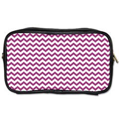 Chevron Wave Purple White Toiletries Bags 2 Side by Mariart