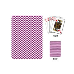 Chevron Wave Purple White Playing Cards (mini)  by Mariart