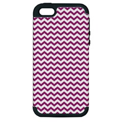 Chevron Wave Purple White Apple Iphone 5 Hardshell Case (pc+silicone) by Mariart