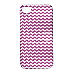 Chevron Wave Purple White Apple Iphone 4/4s Hardshell Case With Stand by Mariart