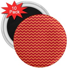Chevron Wave Red Orange 3  Magnets (10 Pack)  by Mariart