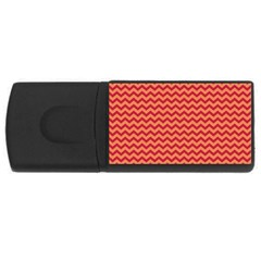 Chevron Wave Red Orange Usb Flash Drive Rectangular (4 Gb) by Mariart