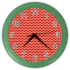 Chevron Wave Red Orange Color Wall Clocks by Mariart