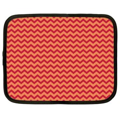 Chevron Wave Red Orange Netbook Case (xxl)  by Mariart