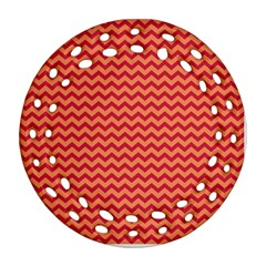 Chevron Wave Red Orange Round Filigree Ornament (two Sides) by Mariart