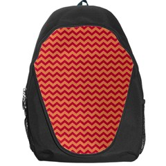 Chevron Wave Red Orange Backpack Bag by Mariart