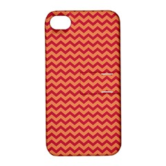 Chevron Wave Red Orange Apple Iphone 4/4s Hardshell Case With Stand by Mariart