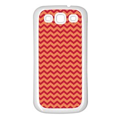 Chevron Wave Red Orange Samsung Galaxy S3 Back Case (white) by Mariart